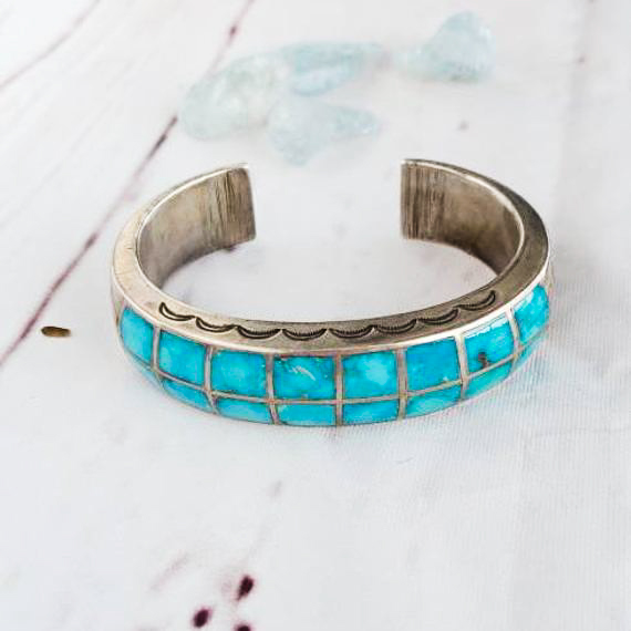 1920 S Channel Inlay Zuni Turquoise Cuff Bracelet Edgy Jewelry