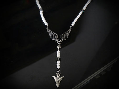 Fallen arrow blanc rosary necklace for men by s1ck jewelry edgy men by s1ck jewelry aloadofball Image collections