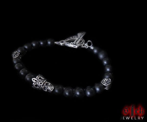 Skull and Roses Silver Bead Bracelet ...