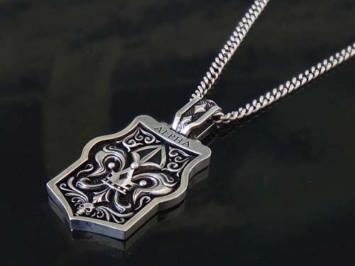 Alpha dog tag pendant for men 925 sterling silver handmade usa s1ck jewelry aloadofball Images