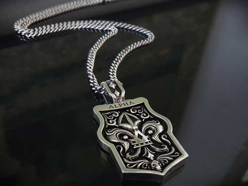 Alpha dog tag pendant for men 925 sterling silver handmade for Jewelry stores in usa