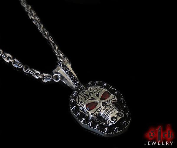 Boss red eye skull dog tag pendant for men 925 sterling silver sale aloadofball Images