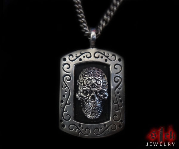 Dia de los muertos skull dog tag pendant for men 925 sterling jewelry aloadofball Images