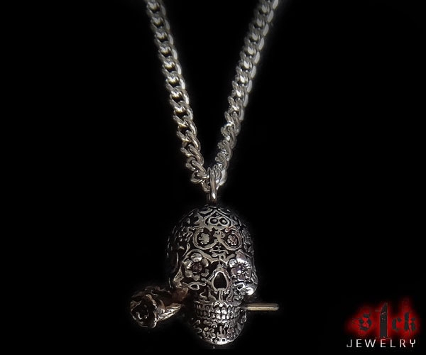 Dia de los muertos v3 pendant for men 925 sterling silver for Jewelry stores in usa