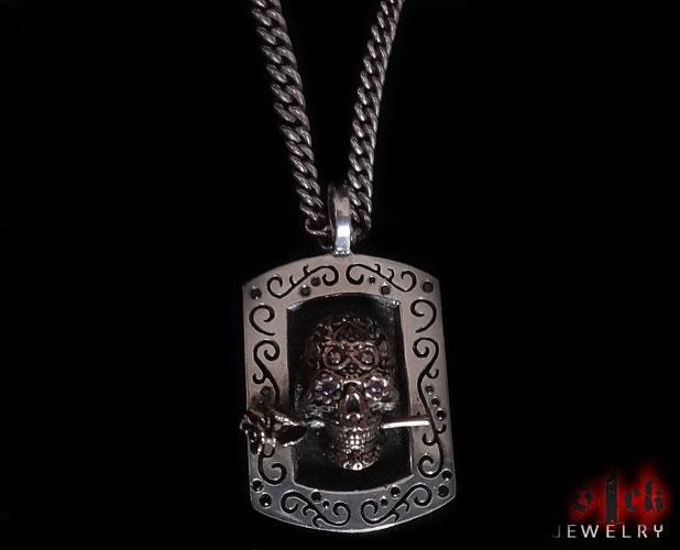Dia de los muertos v2 skull dog tag pendant for men 925 sterling jewelry aloadofball Images