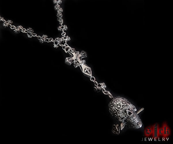 Rosa Muertos Silver Necklace Chain Skull Pendant For Men By S1ck Jewelry Edgy Jewelry