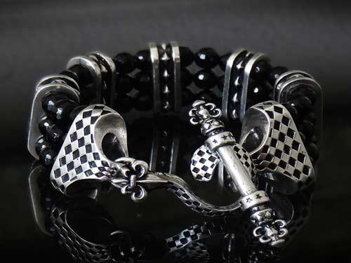 Triple Diamond Stud 925 Sterling Silver Rockstar Bracelet For Men