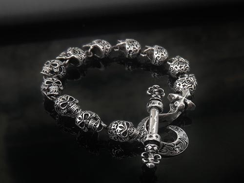 Skull Bracelet For Men 925 Sterling Silver Handmade In Usa By S1ck