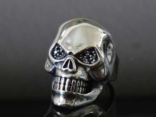 Phantom Skull Black Diamond 925 Sterling Silver Ring For Men