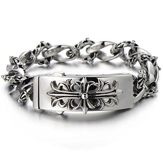 bracelet stainless and genuine steel product quality leather high