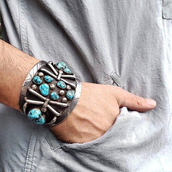 1960 S Turquoise Spiderweb Native American Navajo Silver