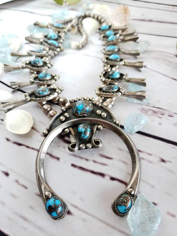 1960 S Vintage Navajo Turquoise Squash Blossom Necklace