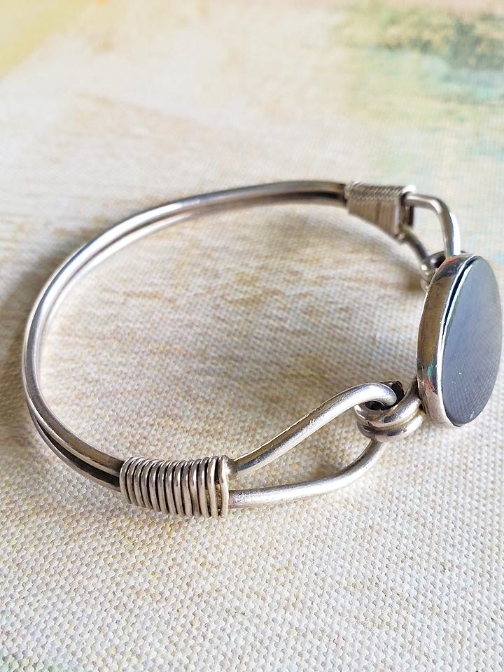 7cc8ab63b0f47 1950's Black Onyx Vintage Handmade Bangle Bracelet