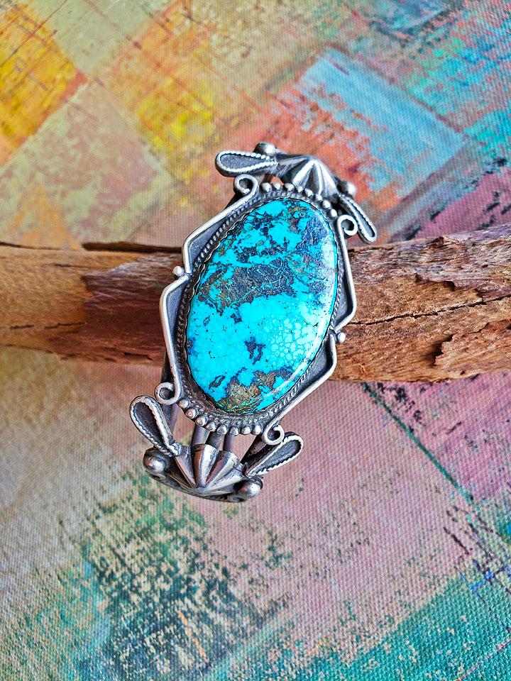 1f8f0266b 1920's Fred Harvey Era Spiderweb Turquoise Navajo Cuff Bracelet ...