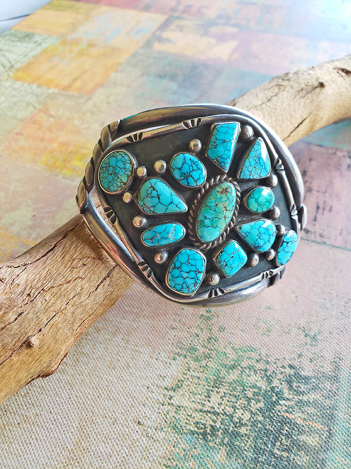 2272d7068 1930's Large Spiderweb Turquoise Navajo Sterling Silver Cuff Bracelet